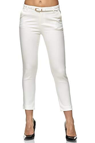 Elara Damen Hose Slim Fit Stoffhose mit Gürtel Chunkyrayan H8707 White-36 (S)