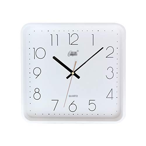 Reloj de pared simple de 12 pulgadas, silencioso, cuadrado, reloj de pared, sala de estar, escuela, oficina, fácil de leer, funciona con pilas, reloj grande (color: blanco)
