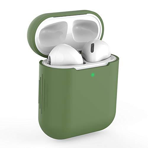 Airpods Custodia in Silicone Compatibile con AirPods 2 Custodia, KOKOKA Silicone Protettiva Case Cover for Airpods (LED anteriore Visibile) - [Supporta la Ricarica Wireless] Verde senape