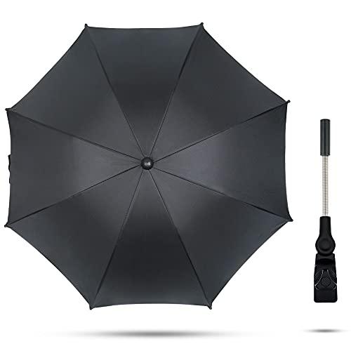 TBoonor Sonnenschirm kinderwagen Universal Regenschirm Sonnenschutz für Kinderwagen & Buggy UV Schutz SPF 50+ Babywagen Schirm mit Halterung, 75cm Durchmesser Babywagen Schirm(Schwarz)