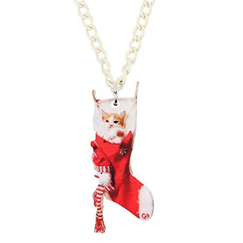 N/A Collar Colgante Calcetín de Navidad acrílico muñeca de Trapo Gato Gatito Collar Colgante Cadena Gargantilla joyería Animal para Mujeres niñas Adolescentes Encanto Regalo