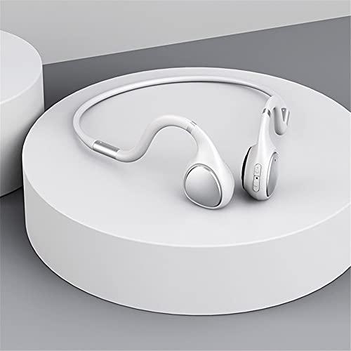 XJPB Auriculares de conducción ósea Auriculares inalámbricos Bluetooth Ear Ear Earphones Deportivos con Sudor de micrófono y a Prueba de Polvo para Correr Deportes Fitness,Blanco