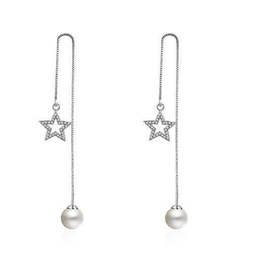 Simplicidad Elegante Moda Simple Linda Perla Estrella Circón 925 Plata de Ley Pendientes Largos de Mujer Regalo de Joyería de Mujer, N-J, Plata de ley 925