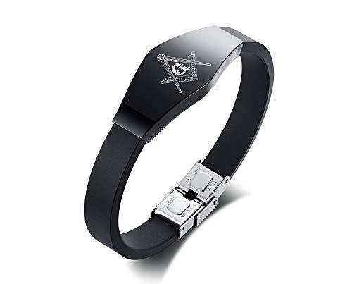 XUANPAI Silicone Stainless Steel ID Tag Part Masonic Freemason Symbol Men's Wristband Bracelet