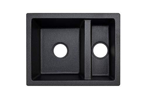 """Black Kitchen Sink Lavello Performa 250U 23"""" - Kitchen Sinks Undermount - Double Kitchen Sink - Granite Sink - Composite Sink - Undermount - Double Bowl"""