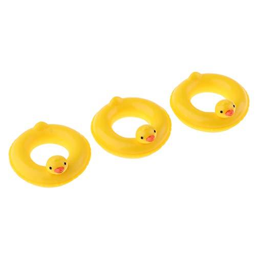 Fenteer 3 Stücke Miniatur Ente Schwimmring Schwimmreifen Puppenzubehör für 1:12 Puppenstube Deko ( Gelb )