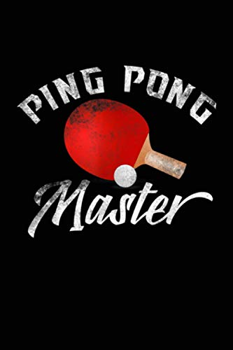Ping Pong Master Red Paddle Funny Balls Black Background: Notebook Planner, Daily...