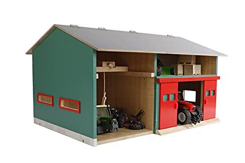 Van Manen Kids Globe 610816 Werkplaats met opbergruimte (schaal 1:32, dak opklapbaar, doelen beweegbaar, afmetingen 41 x 54 x 32 cm, zonder speelfiguren + accessoires)