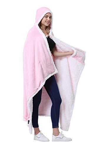 Catalonia Classy Poncho als Decke, Kapuzendecke Sherpa Cosy Plüsch Fleece Tragbare Decke für Erwachsene Frauen Männer Kinder Kuschelüberzug zu Hause oder im Freien, 125 x 200 cm, Rosa