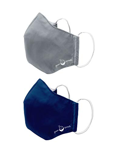 i play. by green sprouts 2 Pack Reusable Face Mask and Storage Bag with Carbon Filter and Water-Resistant Adult Large Grey Navy