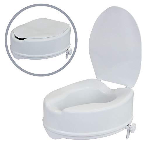 1PLUS Health WC Sitz Erhöhung Toilettensitzerhöhung Toilettenaufsatz mit Deckel (15cm)