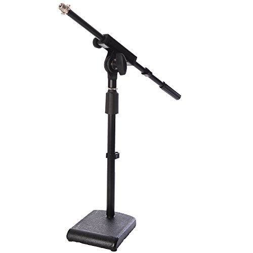 LyxPro KDS-1 Kick Drum Mic Stand, Low Profile Height Adjustable Microphone Boom Stand, Weighted Base, 3/8