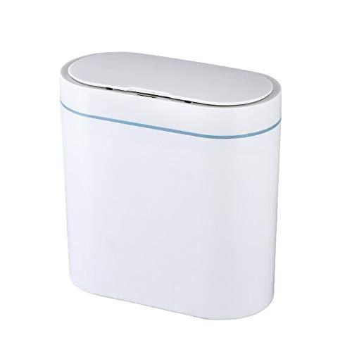 8L Automática del Sensor Inteligente Bin Bote De Basura De Sifón Inodoro Sin Contacto Cubo De Basura Tapa Automática para El Baño Dormitorio Oficina Cocina (Blanco)