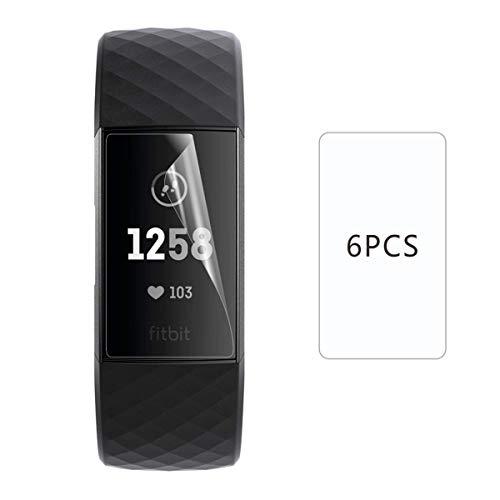 KBXEITE 6 Pacchi Protezione Charge 4 / Charge 3, Morbido TPU, Ultra Chiaro, AntiGraffio, Morbido TPU Protezione dello Schermo di Pellicola per Fitbit Charge 3