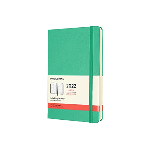 Moleskine 12-Month Daily Planner 2022, Daily Diary 2022, Hard Cover and Elastic Closure, Large Size 13 x 21 cm, Colour Ice Green, 400 Pages