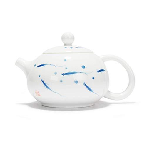 Ceramic Teapot Ceramic Teapot Hand-Painted Fish Play White Porcelain Teapot Ceramic Teapot for Bulk Tea Tea Pot for Loose Leaf Tea (Color : White, Size : 200ml)