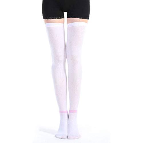 Thrombus kousen Siliconen antislip Compressiesokken voor medische spataderen Gezondheid elastische sokken Pijnen bevorderen de terugkeer van bloed voor dames kniekousen wit,XL