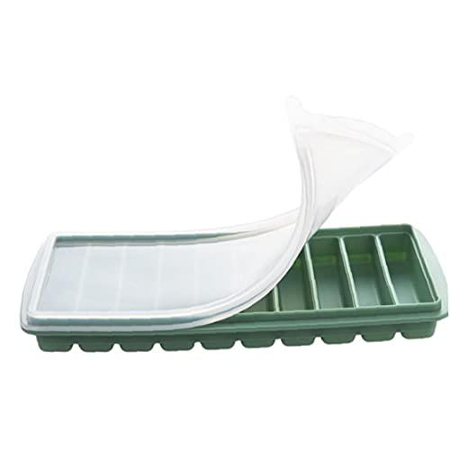 Bandeja de palillo de hielo Cubo de hielo rectangular Molde de silicona Diez dedos Caja de hielo con tapa flexible para botella de agua Cóctel Fiestas Verde, Molde