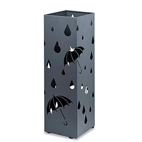 Schirmständer aus Metall 49 x 15 x 15 cm Regenschirmständer Schirmhalter für Gehstöcke mit Abnehmbare Wassersammelschale für Büros, Wohnzimmer, Schlafzimmer Usw - Quadratischer Regentropfen Anthrazit