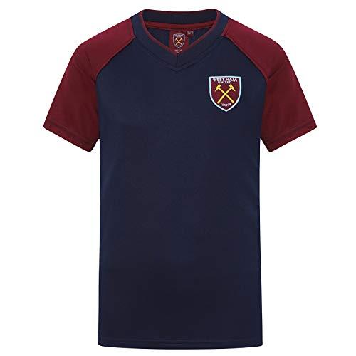 West Ham United FC Camiseta Oficial Para Entrenamiento - Para Niño - Poliéster - Azul Marino Cuello de Pico - 12-13 Años (XLN)