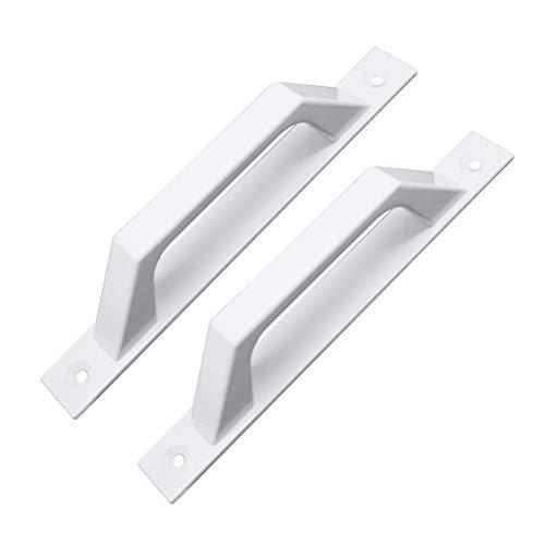 Handtag av aluminiumlegering dörr och fönsterhandtag yta – monterad trädörr balkong skjutdörr skjutdörr handtag (med monteringsskruvar) (vit) 2 st/påse