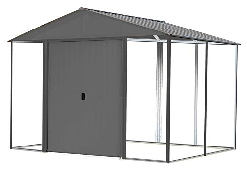 Arrow Shed 10' x 8' Ironwood Galvanized Steel and Wood Panel Hybrid Outdoor Shed Kit, 10' x 8', Anthracite