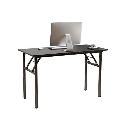 DlandHome Mesa Plegable Mesa de Ordenador 120x60cm Escritorio de Oficina Mesa de Estudio Puesto de Trabajo Mesas de Recepción Mesa de Formación,Negro