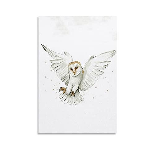 FENGLANG Pintura de acuarela lienzo arte de pared para sala de estar dormitorio cartel impresiones granero búho vuelo decoración regalo 40 x 60 cm