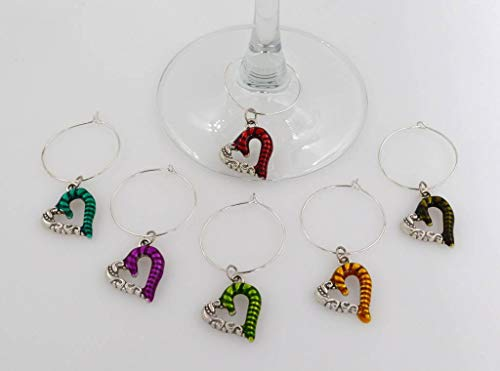 Enamel Heart Wine Glass Charms - 6 Piece Cocktail Drink Charm Set in Black Velour Gift Pouch (WGC 103Ae)