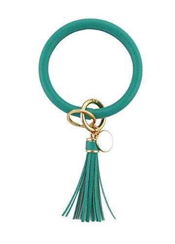 THOMELA Schlüsselanhänger Armreif - Quast - Kunstleder - goldene Ringe & Schnellverschluss - Modetrend 2020 - Geschenkbox Set (Türkis)