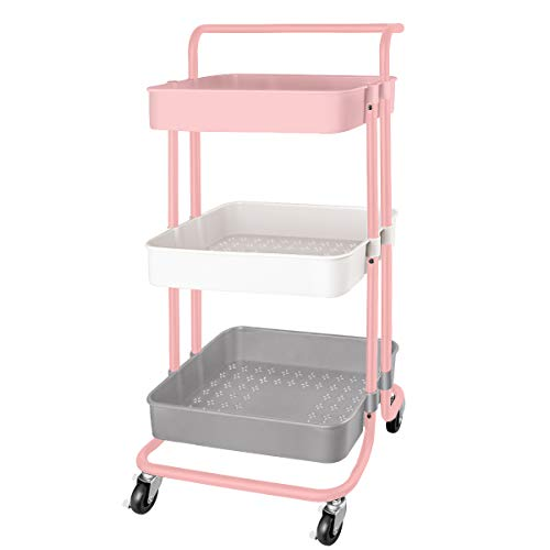 QiMH 3 Tier Rolling Storage Cart with Wheels Handle, Heavy Duty Mobile Rolling Utility Cart Multifunction Large Storage Shelves Organizer with Mesh Basket for Kitchen, Bathroom, Bedroom, Office, Pink