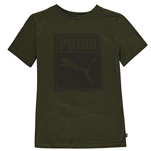PUMA Ragazzo Box QT T-Shirt Maglietta Manica Corta Girocollo Forest Night 11-12 Anni