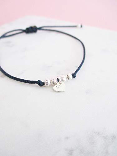 Armband mit Herz 925er Sterlingsilber personalisiert | Dunkelblau Erinnerungsarmband Gedenkschmuck Liebesarmband | Geschenk für Sie Muttertag