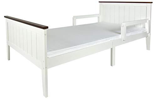 Leomark Modern houten bed voor volwassenen met veiligheidsstang 200 x 90 cm wit Parijs Walnut