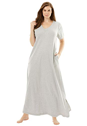 Dreams & Co. Women's Plus Size Long T-Shirt Lounger House Dress or Nightgown - 1X, Heather Grey Gray