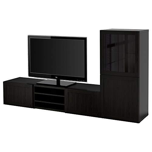 BESTÅ TV-opbergcombinatie/glazen deuren 240x42x129 cm zwart-bruin/Hanviken zwart-bruin helder glas