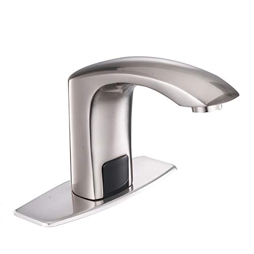 Greenspring Commercial Automatic Sensor Touchless Deck Mount Solid Brass Bathroom Sink Faucet With Hole Cover Plate Hands Free Brushed Nickel Vanity Faucets