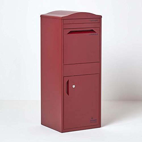 Große Smart Parcel Box mit gebogenem Dach Paketbriefkasten mit Paketfach und Briefkasten, sichere Paketbox für Zuhause und Unternehmen mit Rückholsperre, für alle Zusteller, 42 x 39 x 104 cm, bordeaux