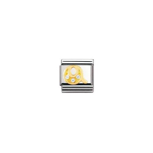 Nomination Composable Classic Q Letter Stainless Steel, K Gold and Cubic Zirconium