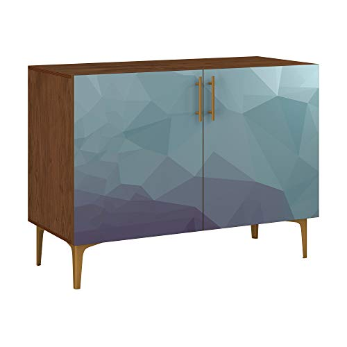 Poppy Credenza - Walnut Sadie Design in 11 Colors & 5 Base Styles - Made in The US - Easy Clean - Mid Century Modern - Chilly Topography Door Design (Brass Arc Base)
