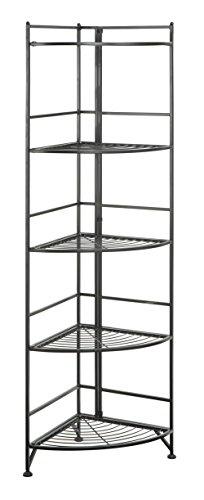 Convenience Concepts Xtra Storage 5 Tier Folding Metal Corner Shelf Black