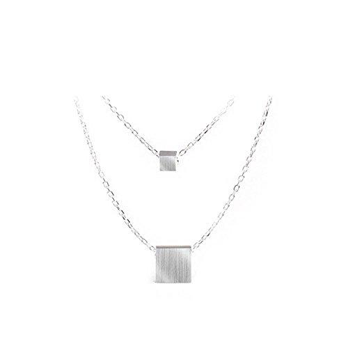 Axiba 925 Sterling Silberschmuck einfach ziehen SANDART Feld doppelte Halskette Schmuck Das schönste Geschenk