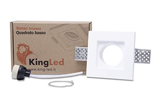 KingLed – Spot Encastrable en Plâtre Céramique Modèle Carré Mince pour Faux Plafond, pour LED GU10, Support de lampe GU10 inclus 100x100x30mm Code.1495