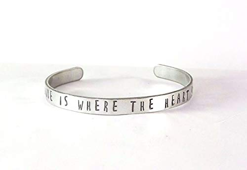 Hand Stamped Jewelry Cuff Bangle Bracelet - Home is Where The Heart Is