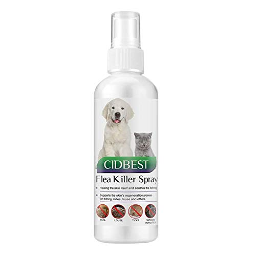 CIDBEST Flea Spray,Pulgas Spray,Anti Pulgas,Spray de protección contra pulgas, Spray Repelente de pulgas de Ingredientes Naturales para Perros Pulgas Garrapatas