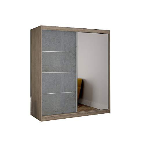 Armoire de Chambre avec 2 Portes coulissantes 1 Porte avec Miroir| Penderie (Tringle) avec étagères (LxHxP): 183x218x61 Beton (Sonoma)
