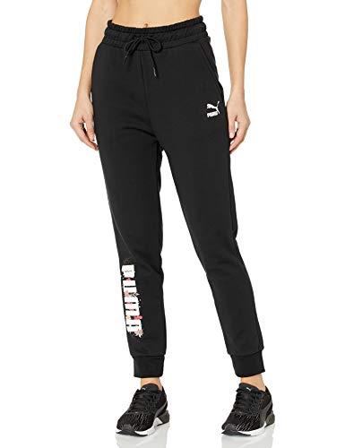 PUMA Damen Trend All Over Print Knitted Pants Jogginghose, Baumwolle Black-Hundstooth, X-Klein