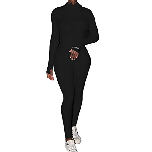 Vertvie Damen Sportanzug Yoga Fitness Slim Jogginganzug Langarm/Kurzarm Bodycon Strampler Jumpsuit mit Reißverschluss Body Outfits Playsuit (L-Schwarz,XL)