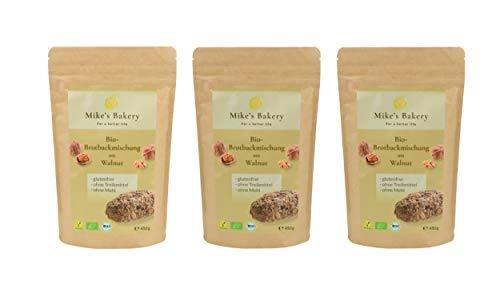 Mike's Bakery - 3er Set Bio Brot Backmischung mit Walnut – 1350g, glutenfrei, vegan, ballaststoffreich, ohne Zuckerzusatz, reich an ungesättigten Fettsäuren aus Leinsamen & Chia-Samen