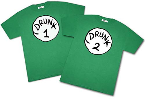 St Patricks Day Drunk 1 and 2 Party Couples Short Sleeve T Shirt Set (Drunk 1 Size Med - Drunk 2 Size Med) Green